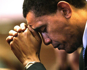 Obama prays to the God of Black Supremacy