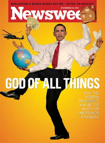 Obama depicted  as a the Hindu God, Shiva, the destroyer of worlds.