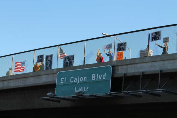 Protest on Overpass in San Diego