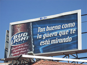 Bud Light Billboard in Spanish