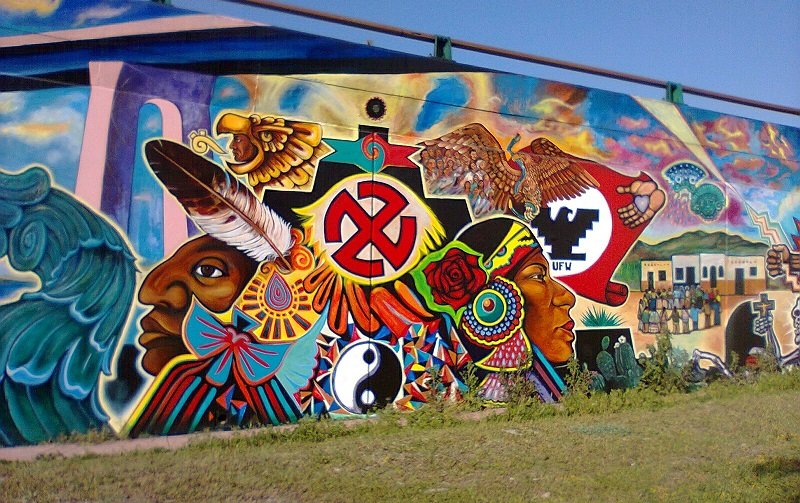 Chicano park the cult of aztl n stop obama now for Chicano mural art
