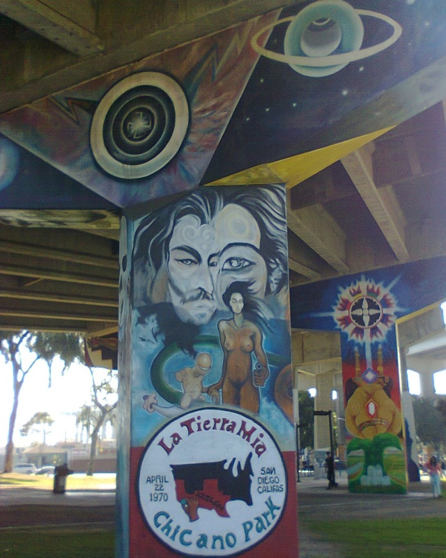 Swastika at Chicano Park (upper left)