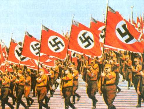Nazi Brown Shirts Display their Flag