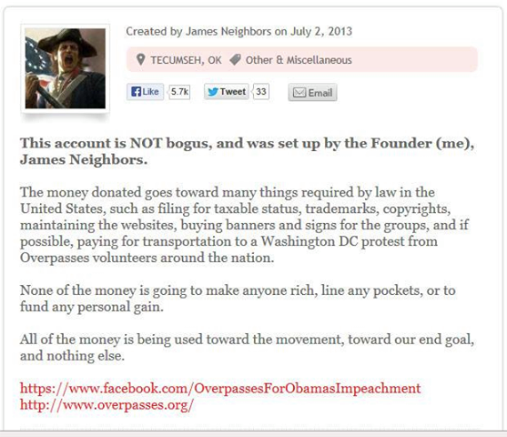 Screenshot of James Neighbors GoFund page.