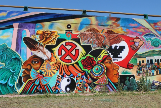 Mural with swastika in Chicano Park reminiscent of Nazi influence in their  roots.